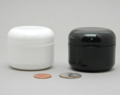 24 WHITE or BLACK 1oz 30ml Plastic Cosmetic Double Wall Cream Jars Containers