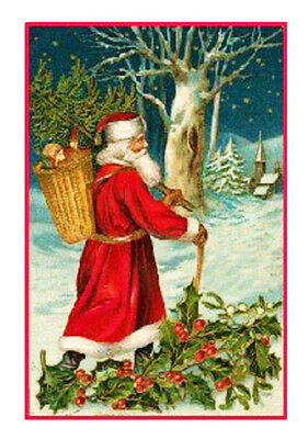 Victorian Father Christmas Santa Antique Card Counted Cross Stitch Chart Pattern