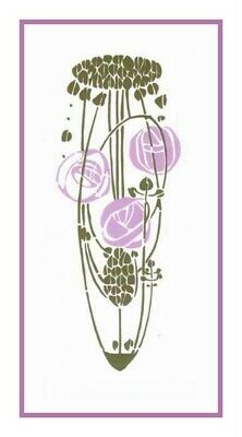 Art Nouveau Charles Rennie Mackintosh Lavender Rose Counted Cross Stitch Chart