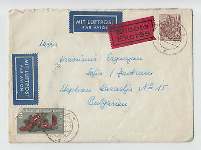 VINTAGE LUFTPOST EXPRESS GERMANY DDR BULGARIA 1960 COVER STAMPS SEAL AIRMAIL #2