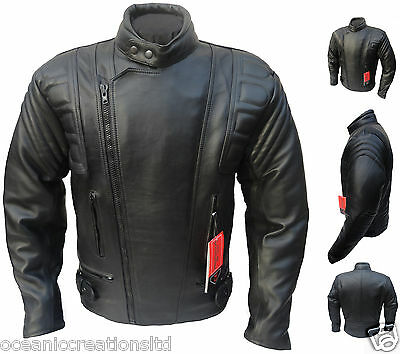 CE ARMOURED Leather Motorcycle Motorbike Racing Jacket XS - 11XL