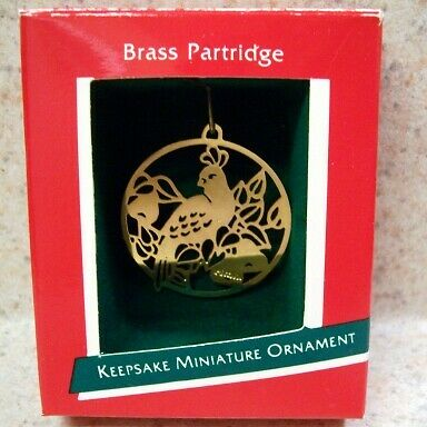 1989 Hallmark Miniature Ornament - Brass Partridge