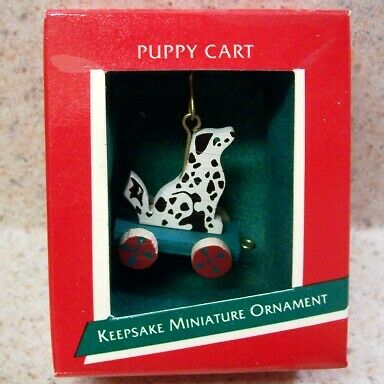 1989 Hallmark Miniature Ornament - Puppy Cart