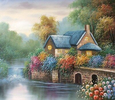 English Cottage on the River 20 x 24 original oil painting on canvas