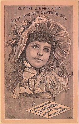 Victorian Trade Card: J F Hill & Co Shoes-Gardiner ME-Young Girl in Fancy Bonnet