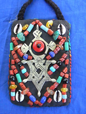 Old Moroccan beaded bag with verses of the Koran inside