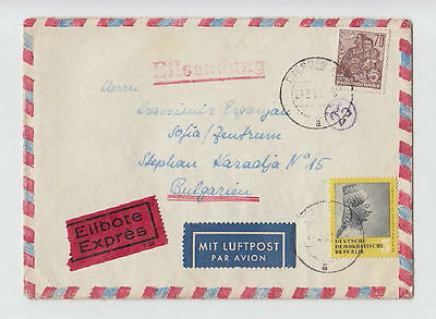 DEUTSCHE LUFTPOST GERMANY DDR TO BULGARIA 1960 COVER STAMPS SEAL AIRMAIL #30