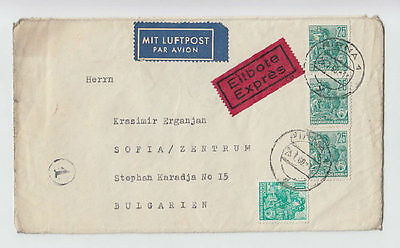 EXPRESS LUFTPOST GERMANY DDR TO BULGARIA 1960 COVER STAMPS SEAL AIRMAIL #33