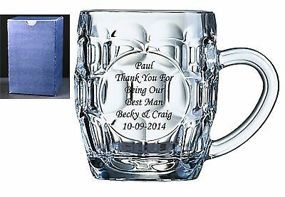 Personalised Engraved Dimple Glass 1 Pint Tankard Wedding Best Man Usher Gift