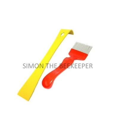 Bee Brush, Yellow Hive Tool & Stainless Steel Straight Tine Uncapping Fork