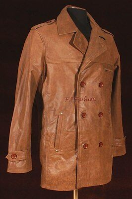 97daef2ce ANTHONY VINTAGE BROWN Men's Smart Double Breasted Cowhide Leather Blazer  Jacket