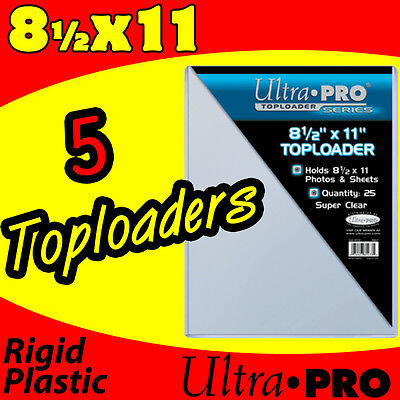 (5) 8.5x11 ULTRA PRO RIGID TOPLOADERS PHOTO HOLDERS