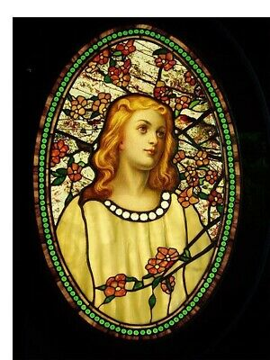 Tiffany Girl Cameo Blossoms Stained Glass Counted Cross Stitch Chart  Pattern