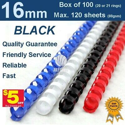 16mm Plastic Binding Combs BLACK - 20 or 21 ring (Box of 100)