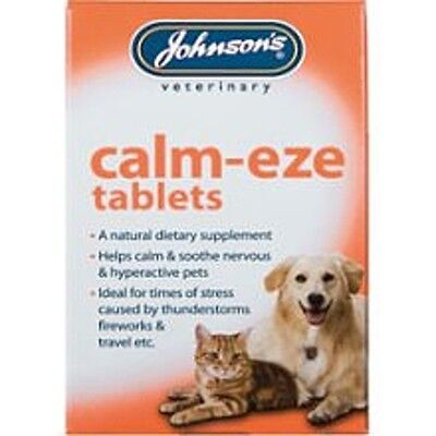 Johnsons Calm Eze Calming Tablets Dog Cat Soothe Nervous Behavior Fireworks