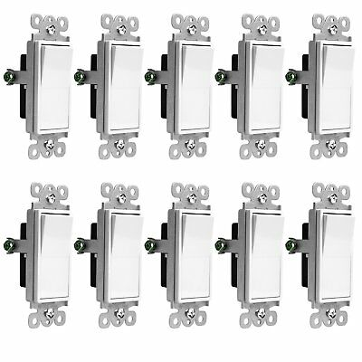 10PK Decorator 15A Switch Single Pole/SPST Lighted Illuminated Rocker Switch