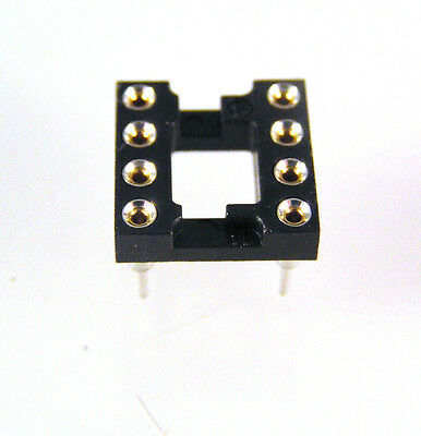 "Turned pin IC socket 8 way (gold plated inners) 0.3"" 10 pieces OLA2-05"