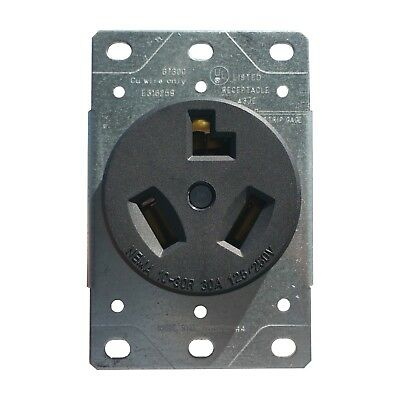 30 Amp Flush Mount Dryer Plug Receptacle 3-Wire Power Outlet 125/250V 10-30R