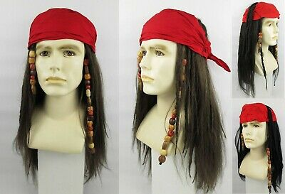 W580 Pirate Captain Cutthroat Jack Sparrow Costume Wig Moustache /& Chin Patch