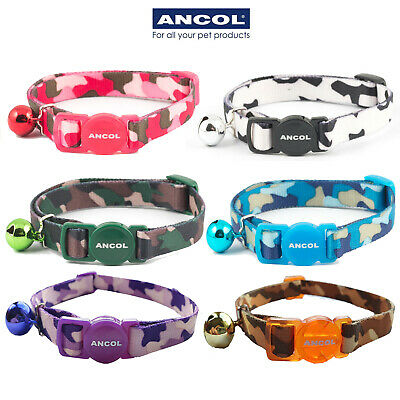 Ancol Camouflage Cat Collar Camo Brown White Blue Green Pink Safety Buckle Bell
