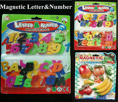 52 PCs Magnetic Letters Numbers Alphabet Capital Lower Case & Vegetable Magnets