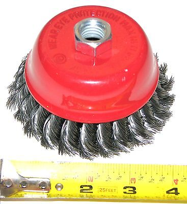"NEW HD ANGLE GRINDER  4"" x 5/8"" 11NC KNOTTED WIRE CUP BRUSH"