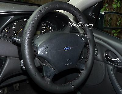 Fits Ford Focus 98-11 Real Black Italian Leather Steering Wheel Cover New