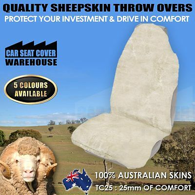 *new* Top Quality Sheepskin Throw Over Car Seat Cover Airbag Safe 5 Colours