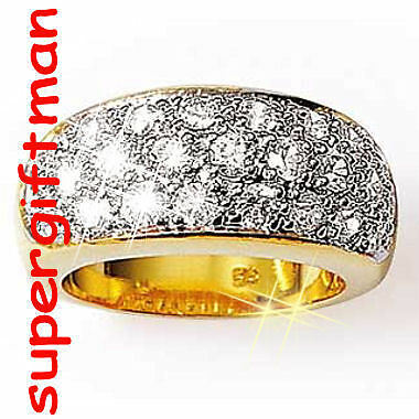 X045 - BAGUE OR DOUBLE AM. / ring goud  DIAMANTS CZ T57