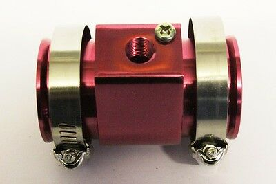 Radiator Hose 36mm Water Temp Sensor Alloy Pipe Connector Joiner Adapter Red