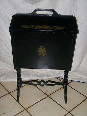 Black Handpainted Sewing Cabinet Stand