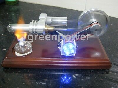 Hot Air Stirling Engine Model Education Toy Electricity Power Generator LED FD03