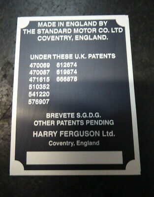 Ferguson Tractor TE20 Commission Serial Number Plate Badge