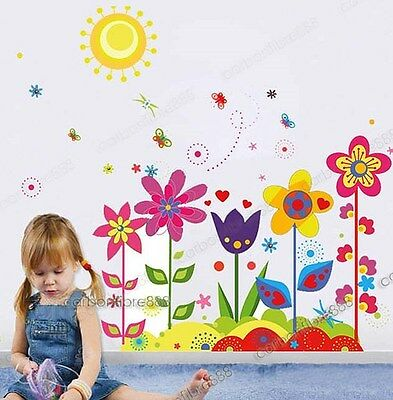 Large Colorful Flower Butterfly Sun Wall Stickers Mural Wallpaper Decal Girls