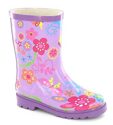 WHOLESALE Girls Purple Wellingtons Flower Print 10-3s 14 Pairs X1062  RRP £14.99