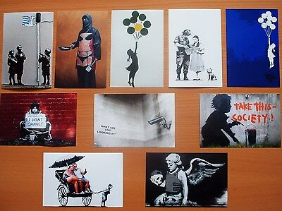 Banksy Art Prints New Set Of Ten Banksy Artwork Postcard Size Reprints