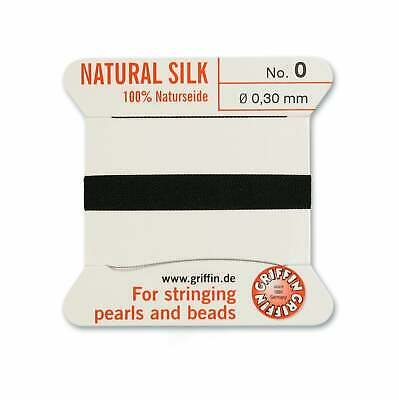 BLACK SILK STRING THREAD 0.3mm FOR STRINGING PEARLS & BEADS GRIFFIN SIZE 0