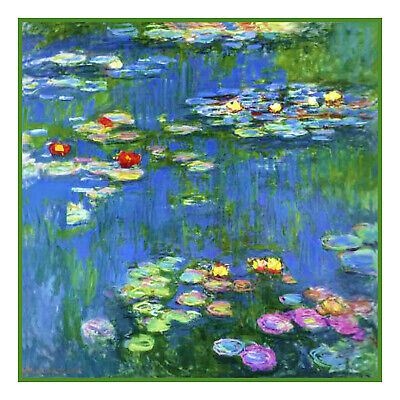 Impressionist Monet's Water Lilies #1 Counted Cross Stitch Chart