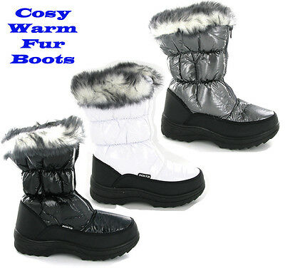 Womens Winter Warm Fur Lined Yetti Snow Ski Style Moon Fashion Boots Size 3-9 UK