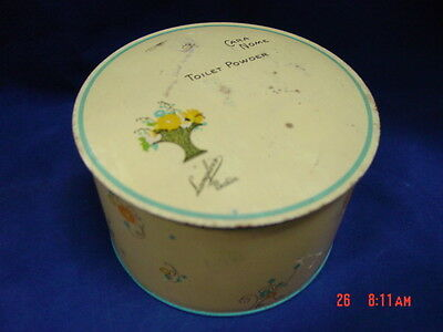Vintage Dusting Powder Box Cara Nome Langlois EMPTY Metal Tin Blue