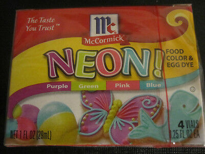 Assorted Neon food coloring McCormick 4pk purple green pink blue