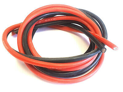 12AWG 12 AWG Flexible Silicone Coated Wire Cable Pair 50cm 500mm Black & Red