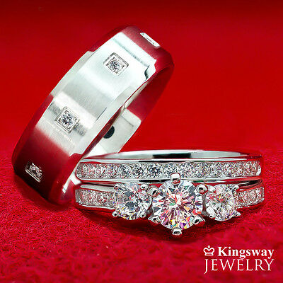 His And Hers 3 Pcs Mens Womens Sterling Silver Stainless Steel Wedding Rings Set