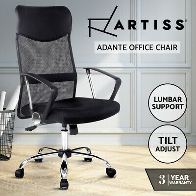 Artiss Executive High Back Mesh Computer Desk Office Chairs PU Leather Black