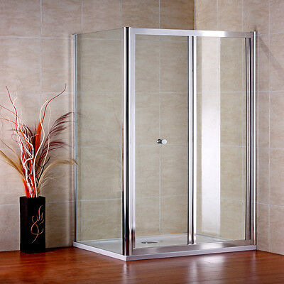 700X900mm Chrome Bifold Shower Door Enclosure Cubicle Side Panel Stone Tray A