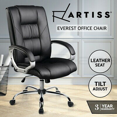 New Executive Premium PU Faux Leather Office Computer Chair Black 82