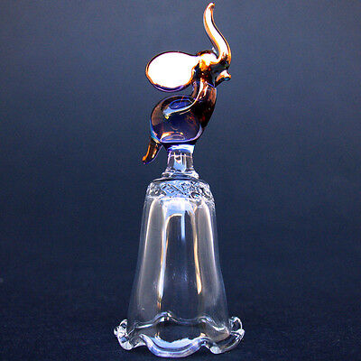 Elephant Hand Blown Glass Thimble Crystal Gold Figurine