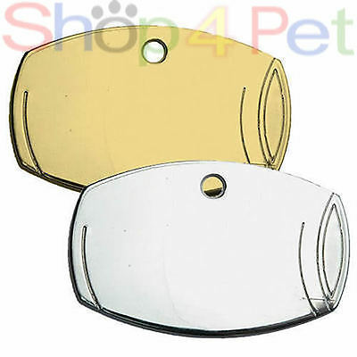 Dog ID Tag PET Tags 32mm Highly Polished Chrome Barrel ENGRAVED BOTH SIDES FREE