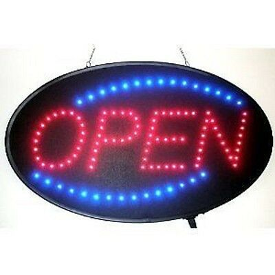 *US SELLER* ANIMATED OVAL NEON LED OPEN SIGN 23X13 ON/OFF SWITCH +HANGING CHAIN