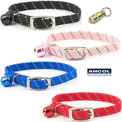 NEW Ancol Elasticated Soft Weave Cat Collar With Bell Red Black Blue Pink JTB